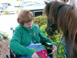 and Bishop (miracle pony!) visits with an Alzheimers patient.